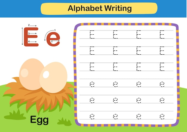 Alphabet letter exercise e  egg with cartoon vocabulary illustration