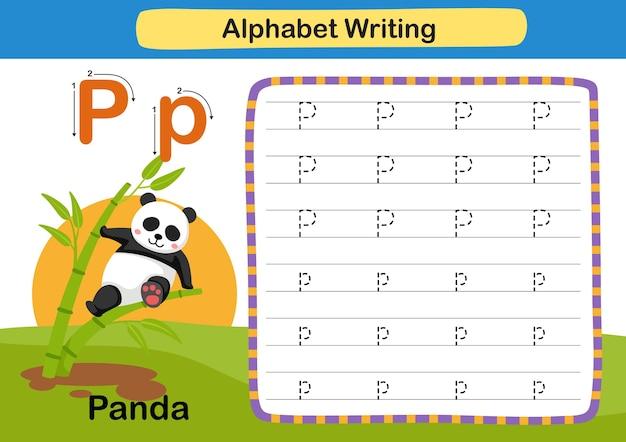 Alphabet letter exercise p  panda with cartoon vocabulary illustration