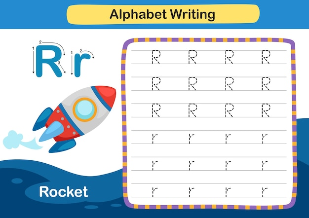 Alphabet letter exercise r  racket with cartoon vocabulary illustration