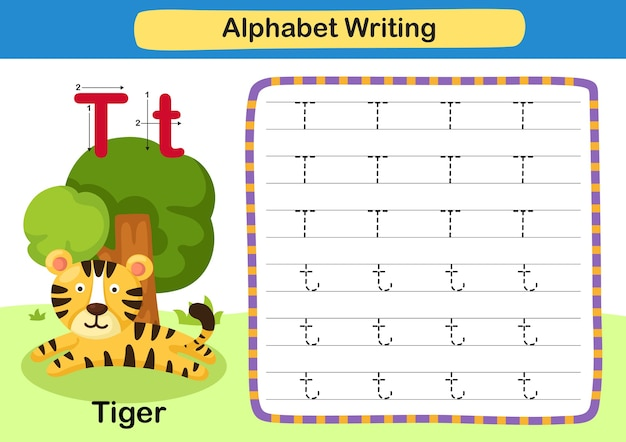 Alphabet letter exercise t  tiger with cartoon vocabulary illustration
