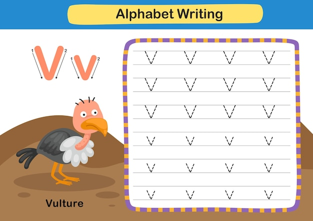 Alphabet letter exercise v  vulture  with cartoon vocabulary illustration