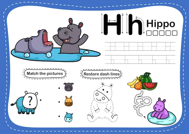 Alphabet letter exercise with cartoon vocabulary