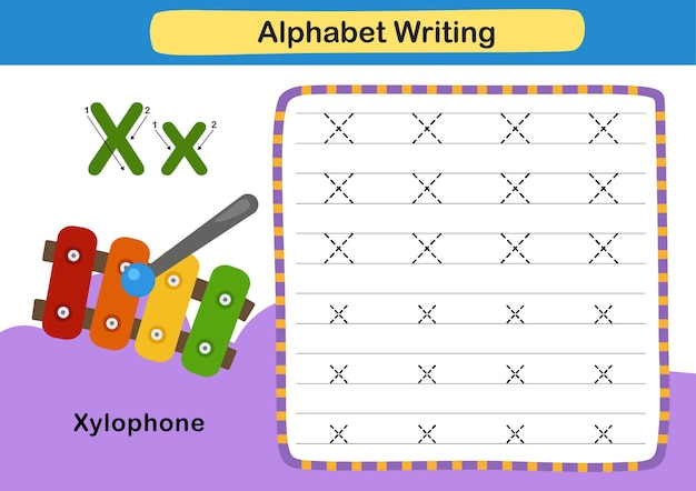 Alphabet letter exercise x  xylophone with cartoon vocabulary illustration