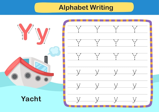 Alphabet letter exercise y  yacht with cartoon vocabulary illustration