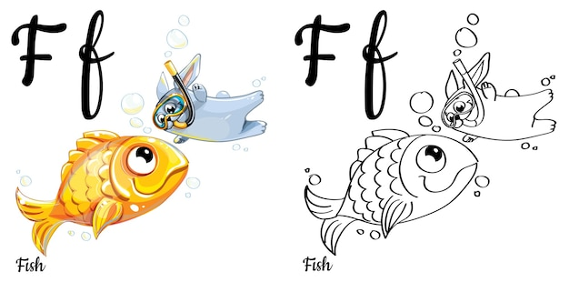 Alphabet letter f for children education with funny cartoon gold fish and bunny. isolated. learn to read. coloring page.