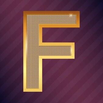 알파벳 문자 f 황금 아이콘 또는 로고 디자인