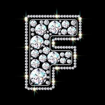Алфавитная буква f из ярких сверкающих бриллиантов
