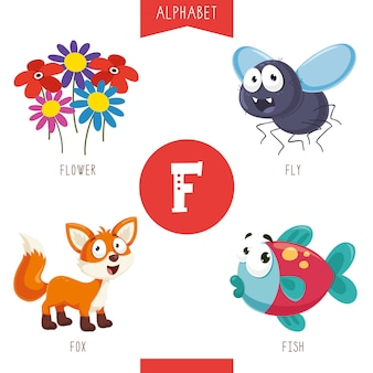 Alphabet letter f and pictures