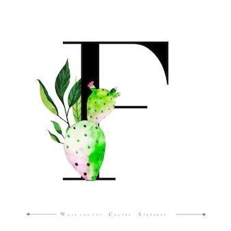 水色のサボテンとアルファベットの文字f