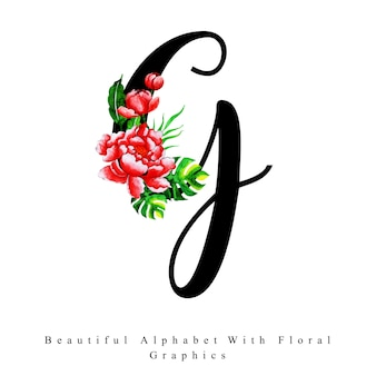 Alphabet letter g watercolor floral background