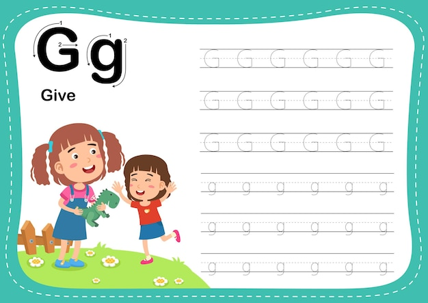 Alphabet letter give exercise with girl vocabulary