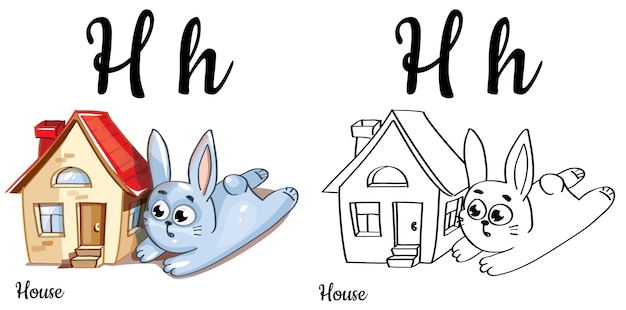 Alphabet letter h for children education with funny cartoon bunny and house. isolated. learn to read. coloring page.