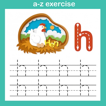 Alphabet letter h-hen exercise,paper cut concept vector illustration
