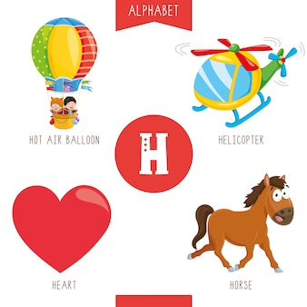Alphabet letter h and pictures