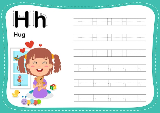 Alphabet letter hug exercise with girl vocabulary