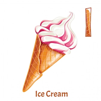 Alphabet, letter i of ice cream