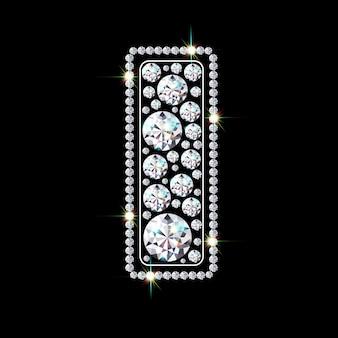 Буква алфавита i из ярких сверкающих бриллиантов