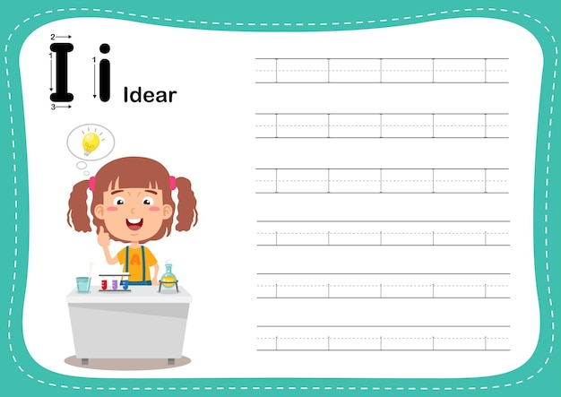 Alphabet letter idear exercise with girl vocabulary
