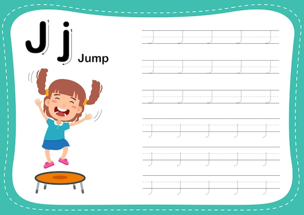 Alphabet letter jump exercise with girl vocabulary