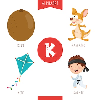 Alphabet letter k and pictures