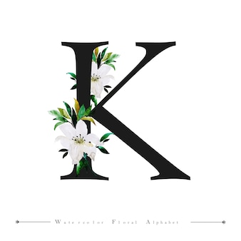 Alphabet letter k watercolor floral background
