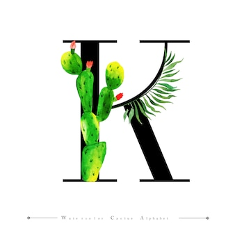 Alphabet letter k with watercolor cactus