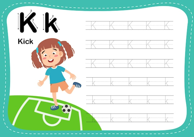 Alphabet letter kick exercise with girl vocabulary