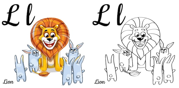 Alphabet letter l for children education with funny cartoon lion and bunny. isolated. learn to read. coloring page.