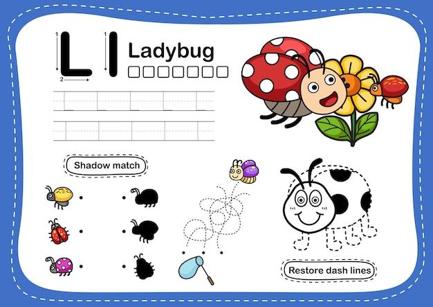 Alphabet letter ladybug exercise with cartoon vocabulary