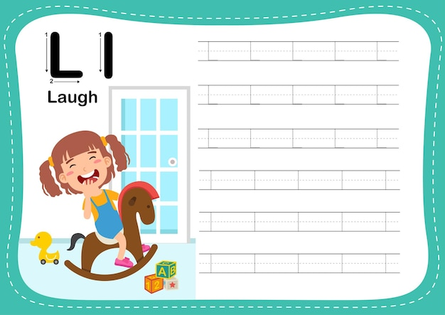 Alphabet letter laugh exercise with girl vocabulary
