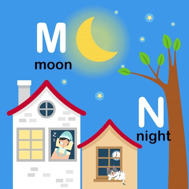 Alphabet letter m for moon, n for night, illustration