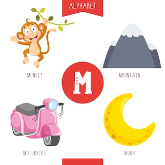 Alphabet letter m and pictures