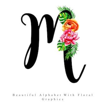 Alphabet letter m watercolor floral background