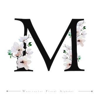 アルファベットの手紙m水彩の花の背景