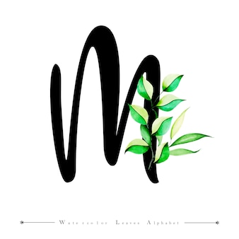Alphabet letter m with watercolor leaves background