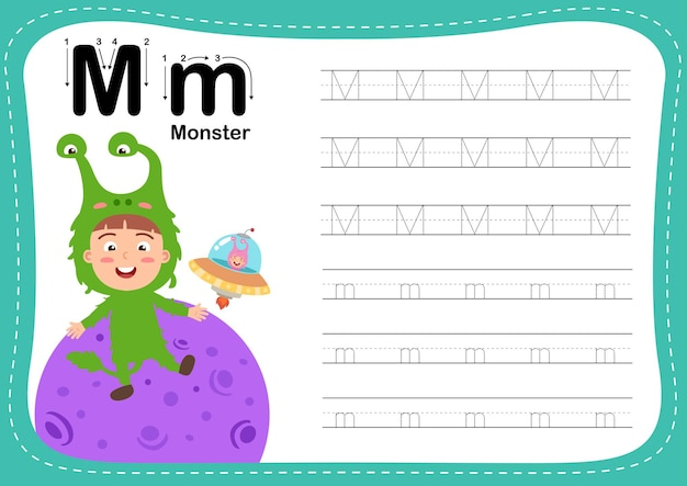 Alphabet letter monster exercise with girl vocabulary