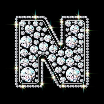 Алфавитная буква n из ярких сверкающих бриллиантов
