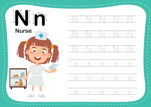 Alphabet letter nurse exercise with girl vocabulary
