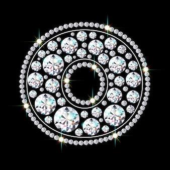Алфавитная буква o из ярких сверкающих бриллиантов