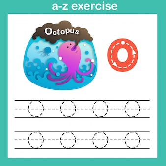 Alphabet letter o-octopus exercise,paper cut concept vector illustration