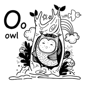Alphabet letter o owl in hand drawn
