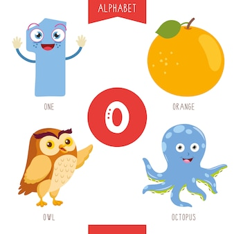 Alphabet letter o and pictures