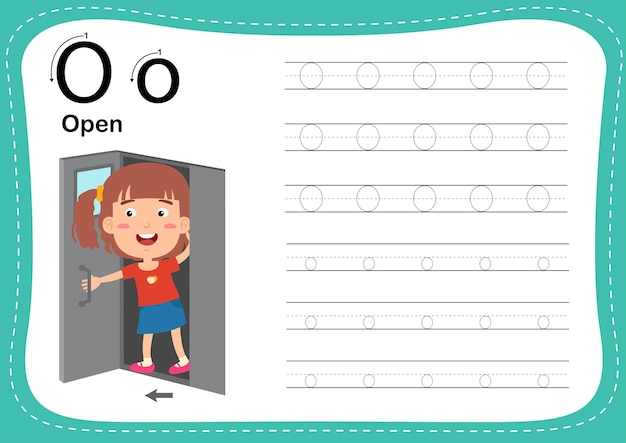Alphabet letter open exercise with girl vocabulary