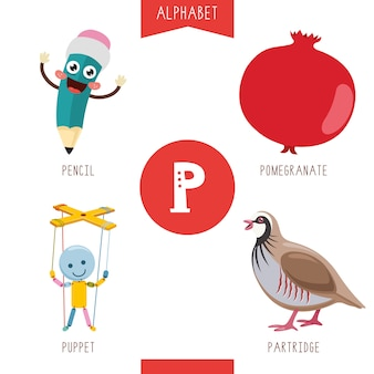 Alphabet letter p and pictures