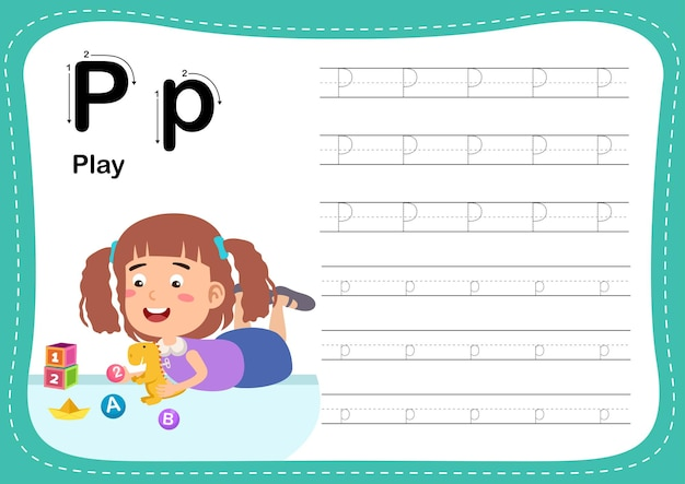 Alphabet letter play exercise with girl vocabulary