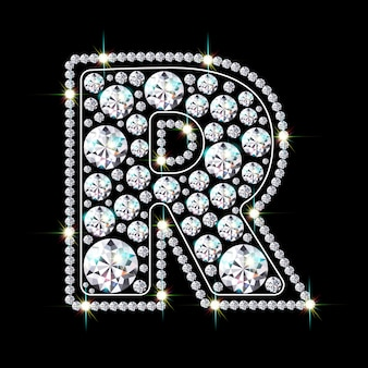 Буква r из ярких сверкающих бриллиантов
