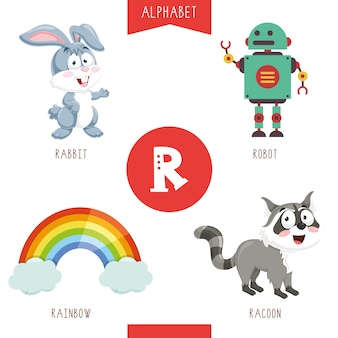 Alphabet letter r and pictures