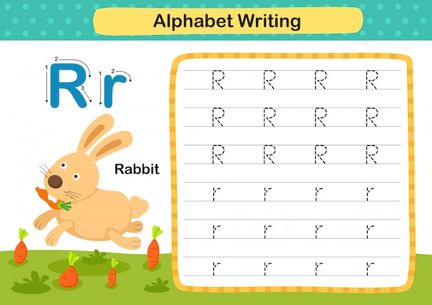 Alphabet letter r-rabbit exercise with cartoon vocabulary illustration