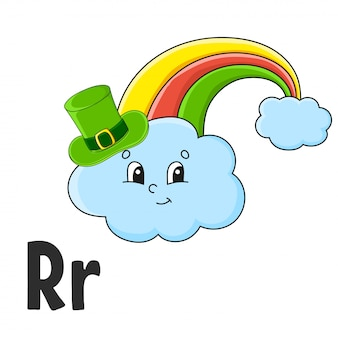 Alphabet letter r. rainbow in hat. abc flash cards. cartoon cute character isolated on white