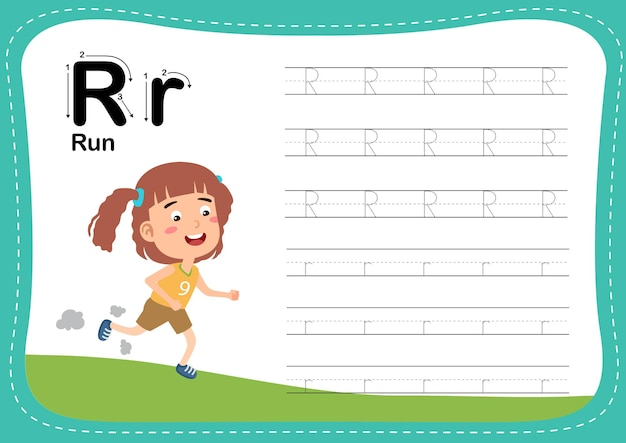 Alphabet letter run exercise with girl vocabulary